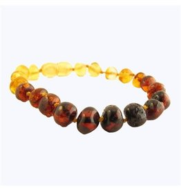 Amber Monkey Bracelet Polished Rainbow Baroque Screw 7-8 Inch