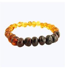 Amber Monkey Bracelet Polished Rainbow Baroque Stretch 7-8 Inch