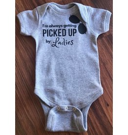 Nappy Shoppe Always getting picked up - Exclusives Onesie