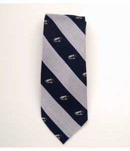 Global Neckwear Navy/Silver Stripe w/ Lion on the Rock