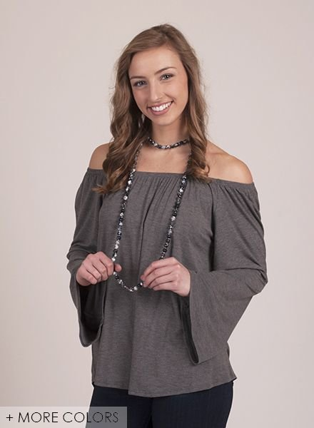 Mia OTS Bell Sleeve Top