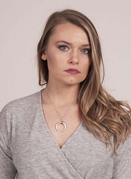 Ann Paige - Venice Metal Crescent Necklace