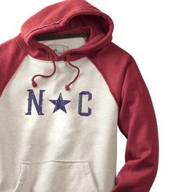 S.L. Revival Co. North Carolina Star Hippy Hoodie, Oatmeal and Red