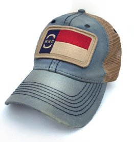 S.L. Revival Co. NC Flag Patch Trucker Hat, Americana Blue