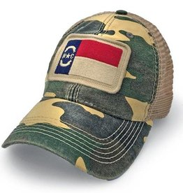 S.L. Revival Co. NC Flag Patch Trucker Hat, Camouflage