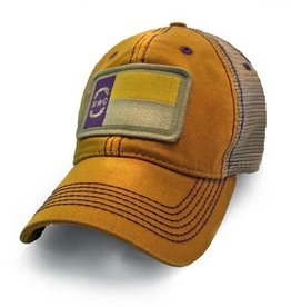 S.L. Revival Co. North Carolina State Flag Trucker Hat, Gold with Purple Stitch ECU