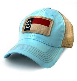 S.L. Revival Co. NC Flag Patch Trucker Hat, Carolina Blue