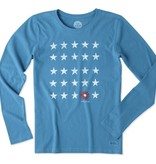 Life is Good Women's Crusher Tee L/S Stars and Daisy, Denim Blue