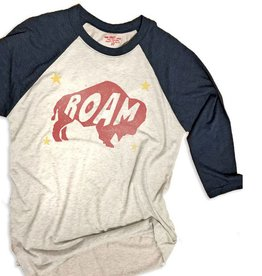 S.L. Revival Co. Roam Baseball Tee, Black/Heather White