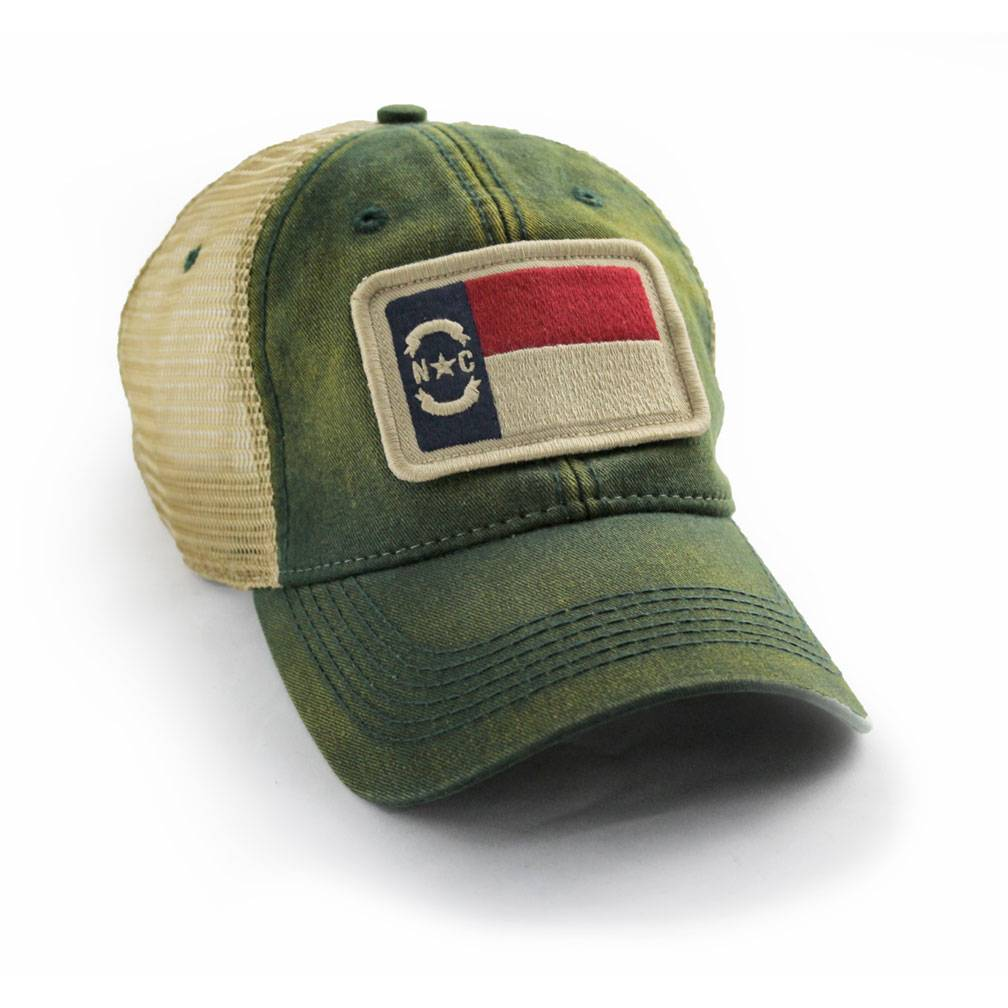 S.L. Revival Co. North Carolina Flag Patch Trucker Hat, Green
