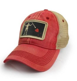 State Legacy Revival Blackbeard Pirate Flag Trucker Hat, Nautical Red