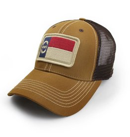 State Legacy Revival North Carolina Flag Trucker Hat, Structured, Tobacco Brown