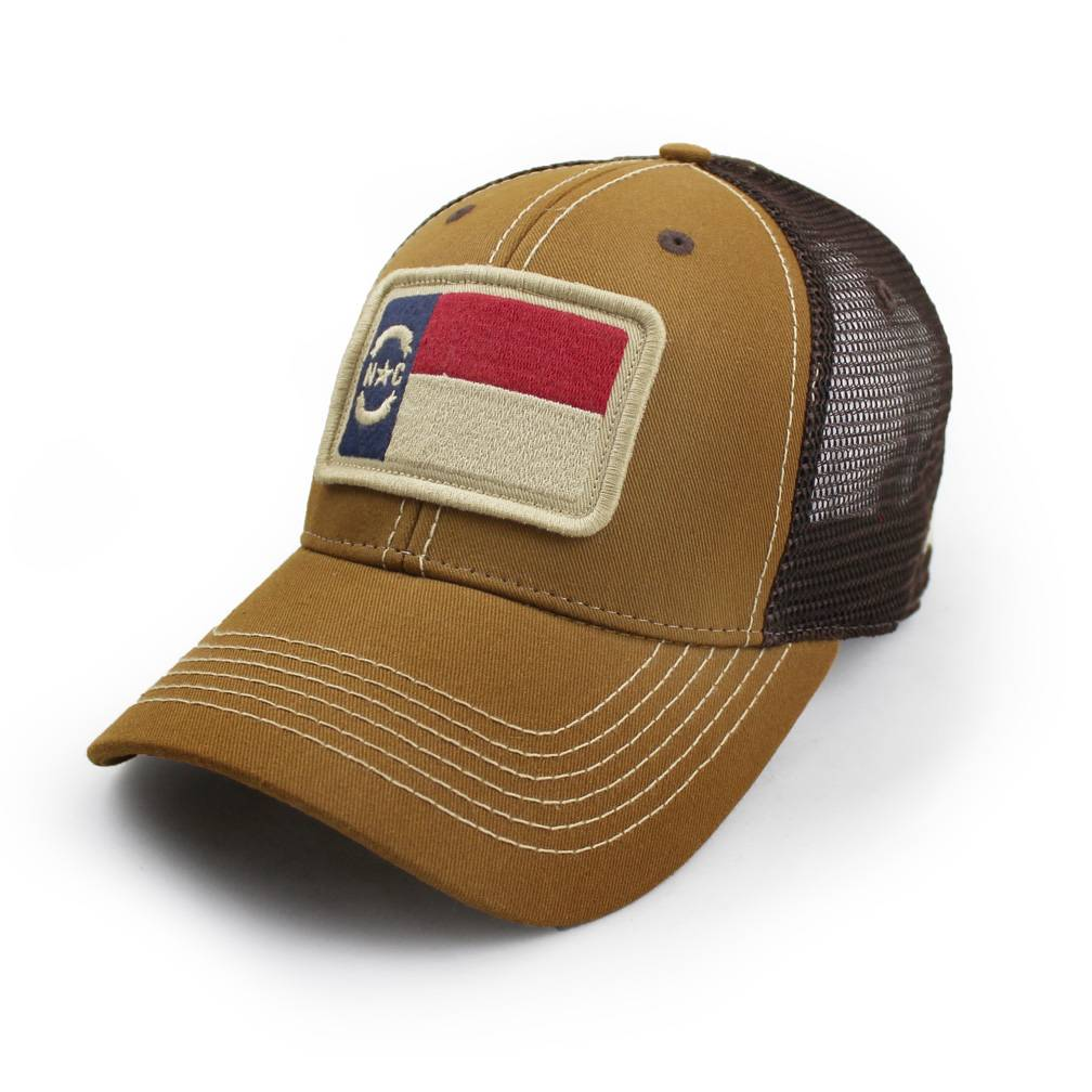 S.L. Revival Co. NC Flag Trucker Hat, Structured, Tobacco Brown