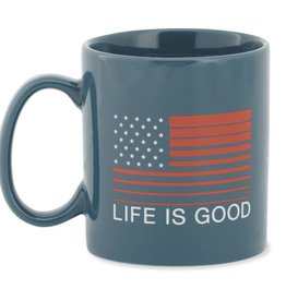 Life is Good U Jake's Mug Flag Stripe, Denim Blue
