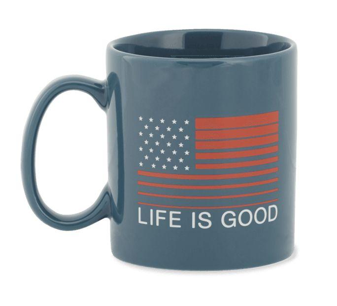 Life is Good U Jake's Mug Flag Stripe, Denim Blue