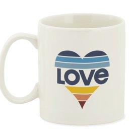 Life is Good U Jake's Mug Love Stripe Heart, Simply Ivory