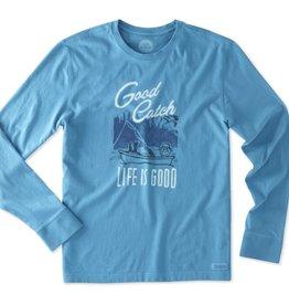Life is Good M Good Catch Fish LS Crusher Tee
