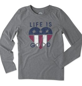 Life is Good Women's L/S Cool Tee Flag Heart, Slate Grey