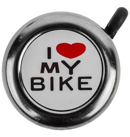 J and B Importers I Love My Bike Bell, Chrome