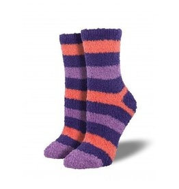Socksmith W's Fuzzy Stripe, Purple/Coral