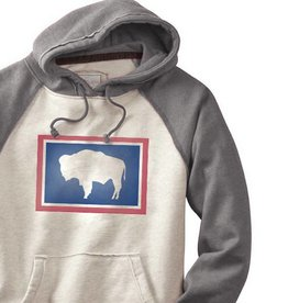 State Legacy Revival Wyoming Buffalo Hippy Hoodie, Oatmeal and Grey