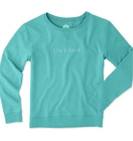 Life is Good W Go-To Crew LIG Bold Embossed, Bright Teal