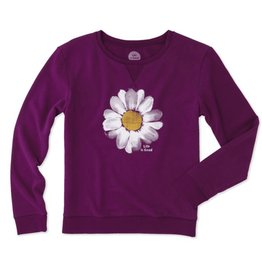 Life is Good W Go-To Crew Daisy Painted, Deep Plum