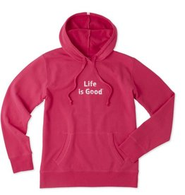 Life is Good W's Pullover Hoodie LIG Stacked, Pop Pink