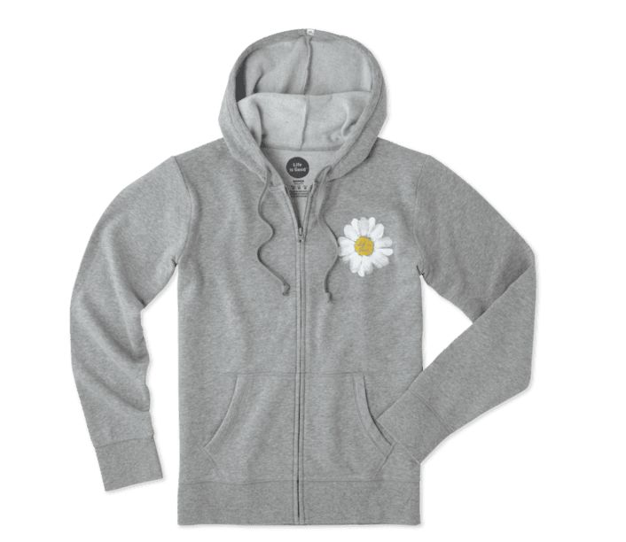 Life is Good W Go-To Zip Hood LIG Daisy, Heather Gray
