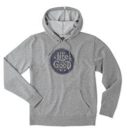 Life is Good M Fleece Hoodie Stacked LIG Circle, Heather Gray