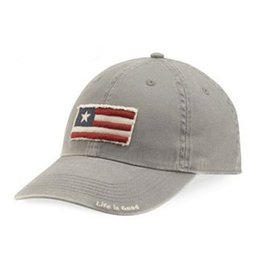 Life is Good A Tattered Chill Three Stripe Flag, Slate Gray