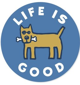 "Life is Good ""u 4"""" Circle Sticker Rocket Bone Sticker, Marina Blue"