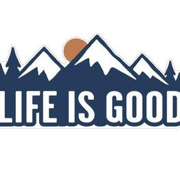 Life is Good U Die Cut Sticker LIG Mountains Sticker, Darkest Blue