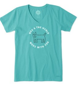 Life is Good W Crusher Vee Wag World Circle, Bright Teal