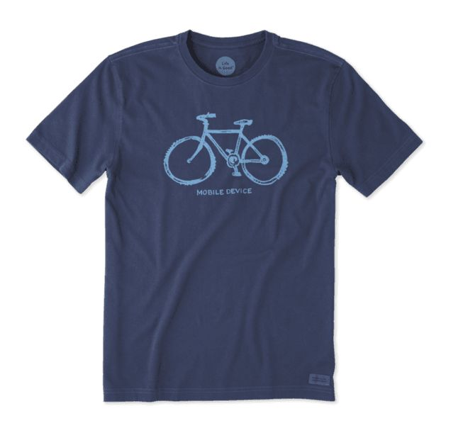 Life is Good M's Crusher Tee Mobile Device Bike, Darkest Blue