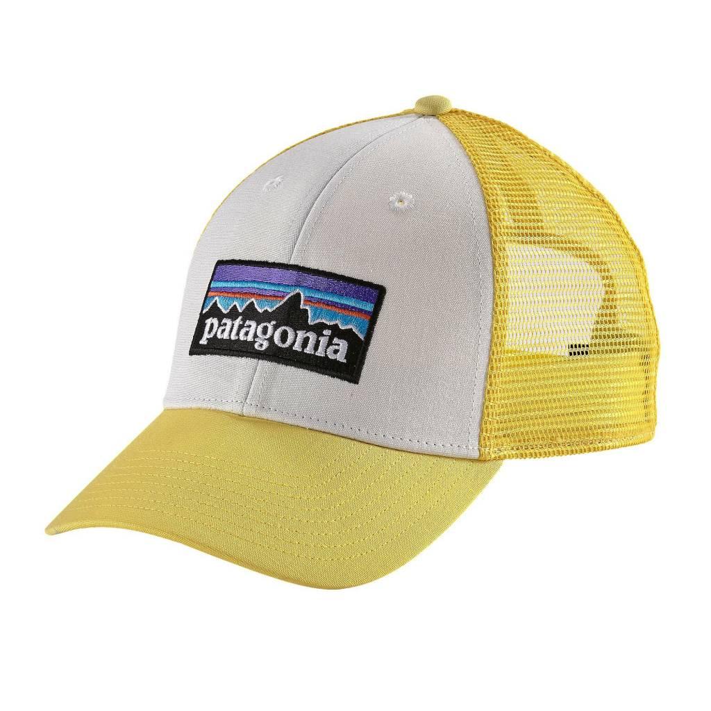 Patagonia P-6 Logo LoPro Trucker Hat, White with Yoke Yellow