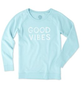 Life is Good W's Go-To Long Crew Good Vibes Paint, Fresh Blue