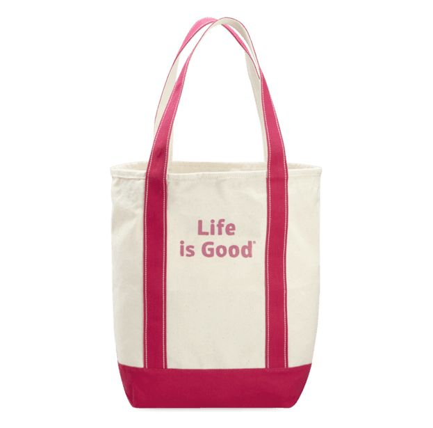 Life is Good A Carry on Canvas LIG Stack Painted, Natural