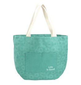 Life is Good U Around Town Tote Painted Dots, Bright Teal