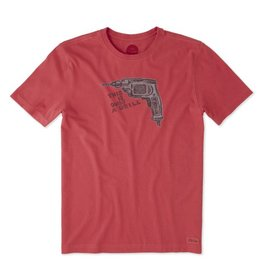 Life is Good M Crusher Tee Only A Drill, Americana Red