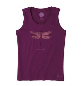 Life is Good W's Sleeveless Crusher Scoop Dragonfly Engraved, Deep Plum