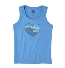 Life is Good W's Sleeveless Crusher Scoop Free Spirit Heart, Tile Blue