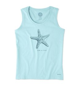 Life is Good W Sleeveless Crusher Scoop Starfish Engraved, Fresh Blue