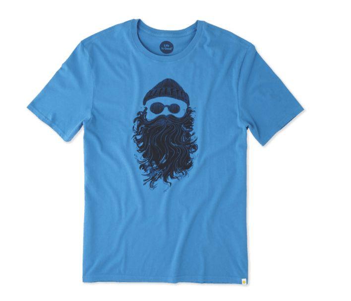 Life is Good M's Smooth Tee Salty Beard, Marina Blue