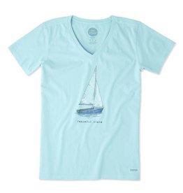 Life is Good W's Crusher Vee Peaceful Sailboat, Fresh Blue
