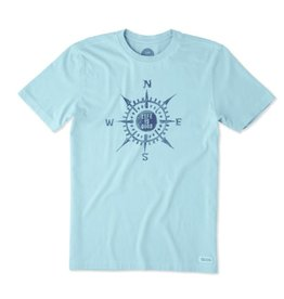 Life is Good M's Crusher Tee LIG Compass Paint, Bleached Blue