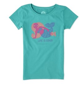 Life is Good Girls Mermaid LIG Tee SS, Bright Teal