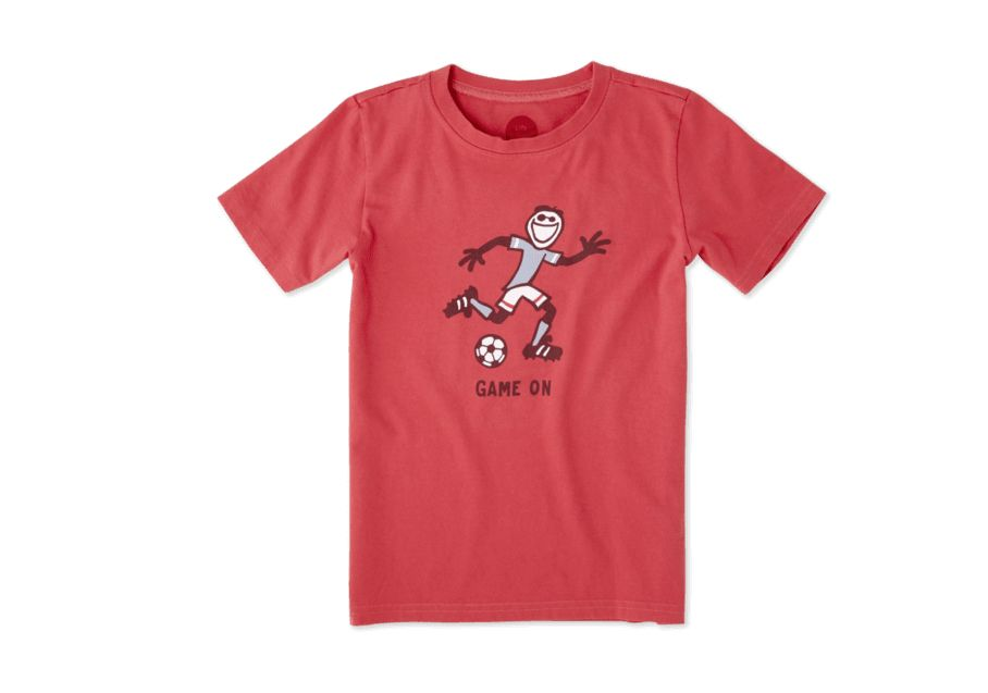 Life is Good Boys Tee Game On Soccer SS, American Red