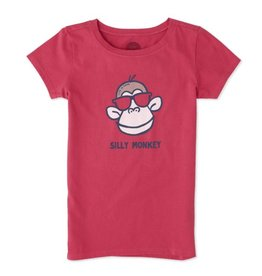Life is Good Girls Tee Silly Monkey SS, Pop Pink
