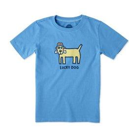 Life is Good Boys Tee Lucky Dog SS, Marine Blue